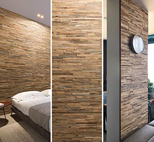 Revêtement mural en bois recyclé naturel vintage - Panneaux muraux en bois - Décoration murale en bois - Design mural Brut (1m2)