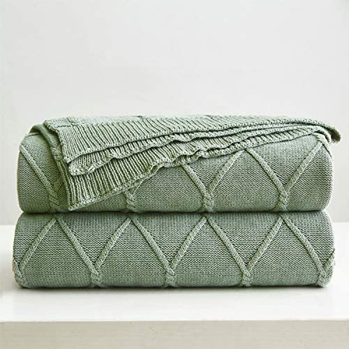 Best 100% Cotton Sage Green Cable Knit Throw Blanket for Couch, Sofa with Bonus Laundering Bag – Large