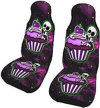 KiuLoam Purple Galaxy Skull Cupcake Dessert Car Seat Covers, Front Vehicle Seat Protector Car Mat Covers, Universal Fit for Vehicle Sedan SUV and Truck Automotive Interior, 2 Pcs