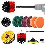 Diealles Shine 11 Piezas Cepillo de Taladro, Cepillo de Taladro para Limpieza para selladores de azulejo, bañera, lavamanos, Piso, Rueda, Alfombra