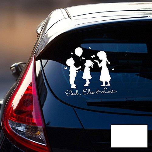 Autotattoo 3 Kinder Autoaufkleber Familie Sticker Heckscheibe Junge & Mädchen Luftballon & Wunschnamen M2197 - ausgewählte Farbe: *weiß* ausgewählte Größe: *M - 30cm breit x 30cm hoch*