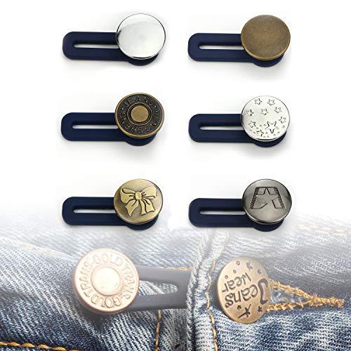 Lohas Select - Set di 6 estensori elastici per pantaloni, con bottoni, Stile 2