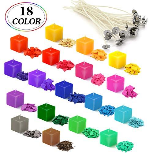 Chips di cera di soia per la realizzazione di candele, coloranti per cera da sciogliere, candele fai da te, 18 colori x 5 g, 18 Colour*5g