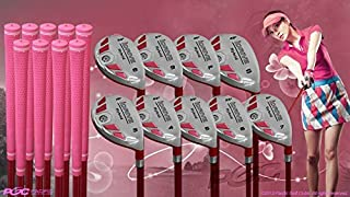 Women's iDrive Golf Clubs All Ladies Pink Hybrid Complete Full Set which Includes: #3, 4, 5, 6, 7, 8, 9, PW +SW Lady Flex Right Handed New Utility L Flex Club