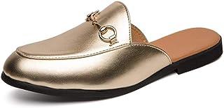Sandalias de moda para hombres o mujeres, microfibras de cuero cómodas y transpirables zapatillas de verano al aire libre, espalda abierta plana nudo metálico redondo cerca del dedo del pie (Seguro de