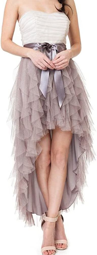 Lisong Women Ankle Length Bow High Low Ruffles Tulle Party Skirt