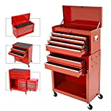 8-Drawer Rolling Tool Chest,Big Tool Chest and Tool Storage Cabinet,Tool Chest with 4 Wheels,Removable Portable Top Box with Lock Tool Chest for Garage and Warehouse-Red