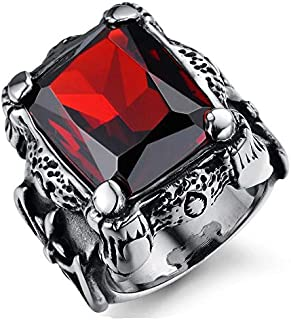 Men Ring Titanium Steel Vintga Classic Red Diamond Ring for Male US9mr8