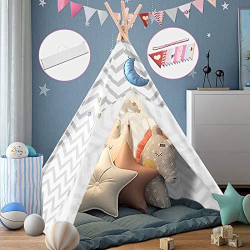 papasbox Tipi Kinderzimmer Spielzelt für Kinde, Zusammenklappbar Tipi Zelt für Kinder mit Tragetasche farbige Flagge,Spielzelt für Innen- und Außenspiele Kinderzelt...