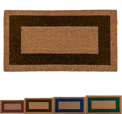LucaHome - Felpudo de Coco Natural Cenefa de Colores con Base Antideslizante, Felpudo de Coco Liso Ideal para Interior y Exterior (Marron, 33 x 60 cm)