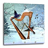 3dRose DPP_97860_1 Bluebird and Hummingbird with A Harp in The Snow and Musical Notes-Wall Clock, 10 by 10-Inch