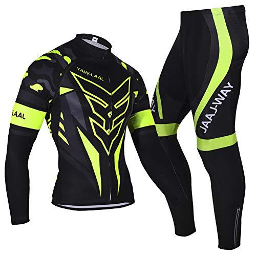 N/V D.Stil - Conjunto de ropa de ciclismo para hombre, manga larga, forro polar con pantalones acolchados 3D, para bicicleta de montaña M-3XL (negro/verde, M)