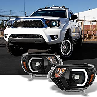 For [TRD PRO U-Bar] [Mono-Eye] 2012 2013 2014 2015 Toyota Tacoma LED DRL Projector Black Headlights Pair