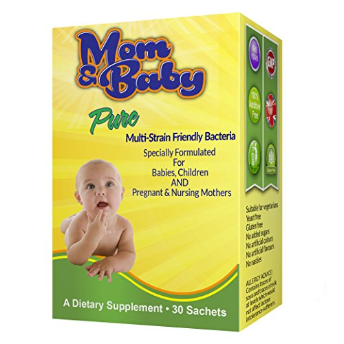 Probiotic Powder for Kids by Mom & Baby Pure (30 sachets) - Safe for Babies, Infants and Children - Relief for Colic, Diarrhoea, Constipation, Trapped Wind, Reflux - One Billion Friendly Multi-Strain Bacteria includes Lactobacillus Acidophilus plus FOS Prebiotics- Good for Pregnant & Breastfeeding Mothers to help support the Child's Immune System, Aid Digestion & Assist Those on Antibiotics - 1 sachet a day - Additive Free - #1 Quality Infant Supplement Made in the UK to GMP Standards