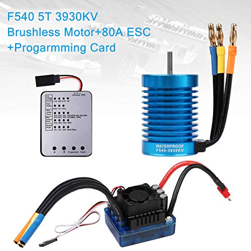 Crazepony-UK F540 5T 3930KV 4P 3.175mm Shaft Brushless Motor Waterproof 80A ESC Combo Set Programming Card 1/10 Scale RC Car (Banana Plug)