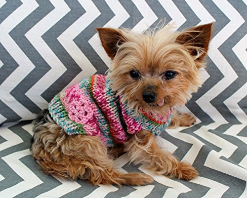 Rustic Pink Dog Puppy Sweater XXS/XS 2 1/2 to 4 Lbs Fair Isle for Chihuahua Yorkie Maltese Pomeranian Teacup Hand Knit Soft and Warm