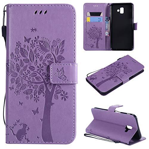 CMID Funda Samsung Galaxy J6+/J6 Plus, PU Cuero Libro Billetera Tapa Antigolpes Protective [Función de Soporte] Cartera...