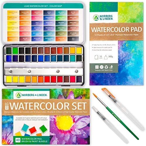 Norberg & Linden LG Watercolor Paint Set - 36 Colors in Half Pans, 12-Sheet Paper Pad, 2 Refillable Water Brushes and an Artist Painting Brush - Vibrant Water Soluble Pigments in a Portable Case