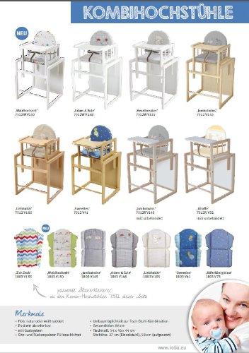 Trona Combi roba, trona con bandeja transformable en silla y mesa independientes, trona infantil en madera natural, asiento tapizado en diseño 'Heartbreaker'