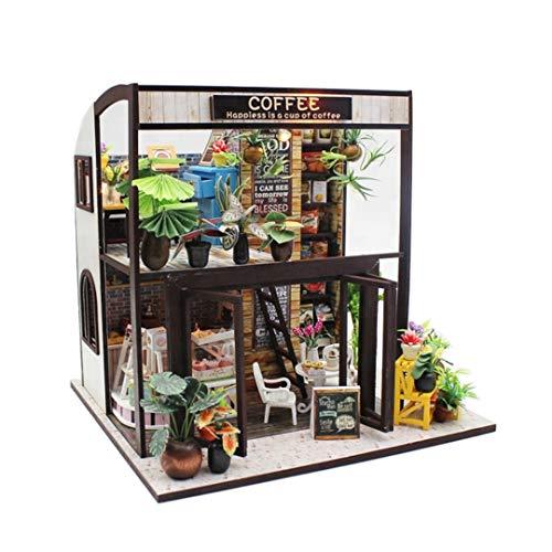 IMPLAY TOYS (インプレイトイズ) ドールハウス 手作りキット セット ミニチュア 3Dパズル ミニチュア DIY おもちゃ ガーデン 知育玩具 LED付き (コーヒーハウス)