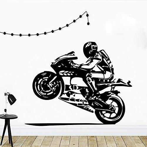 yaofale PVC-Wandaufkleber-Motorradfahrer Wandaufkleber Helm Motorrad Teen Boy Raumdekoration Aufkleber Wandaufkleber Vinyl Vinyl Home Art Wandbild