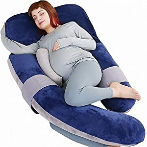 MOON PINE 60 inch Pregnancy Pillow, Detachable Maternity Body Pillow, Large U Shaped Sleeping Pillow for Pregnant Women with Removable Cover