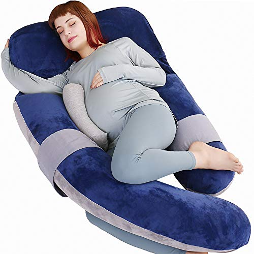 MOON PINE 60 Inch Pregnancy Pillow, Detachable U Shaped Full Body Pillow, Nursing and Maternity Pillow for Back, Hips, Legs and Belly Support for Pregnant Women with Removable Cover (Blue Grey)