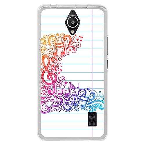 BJJ SHOP Custodia Trasparente per [ Huawei Y635 ], Cover in Silicone Flessibile TPU, Design: Note Musicali su Foglio di quaderno