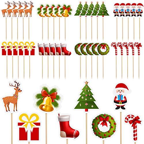 Aneco, 80 Decorazioni Natalizie per Cupcake, Babbo Natale, Albero di Natale, Pupazzo di Neve, Calzini, Caramelle, stuzzicadenti a Tema Natalizio, Decorazioni per Torte e Feste, 10 Stili