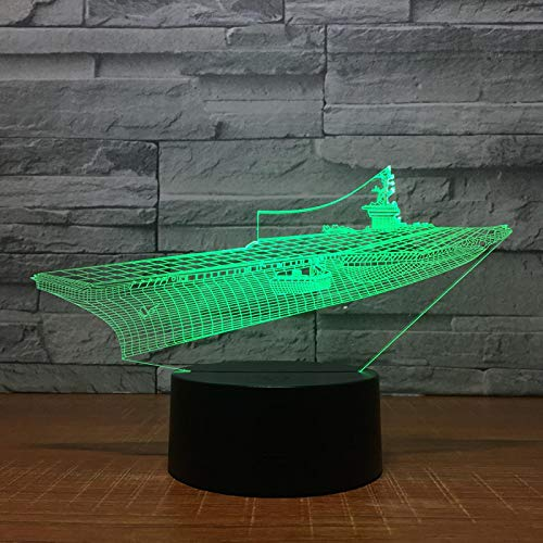 WisdomMi lámpara de mesita de noche infantil, 3D 16 colores - de reloj dorada - altavoz Bluetooth negra - Crucero En Barco - Lámpara Luz De Noche Para Niños Táctil Mesa Dormir Bebé Nocturna Re