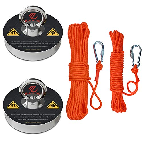 Max Magnets Fishing Magnet Kit, 2 Ropes with Twist Locking Carabiner +...