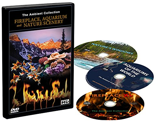 DVD-Box Set -Fireplaces - Aquariums and Natural Scenery - 3 DVDs with Aquarium - Fireplace and Nature Landscapes scenes