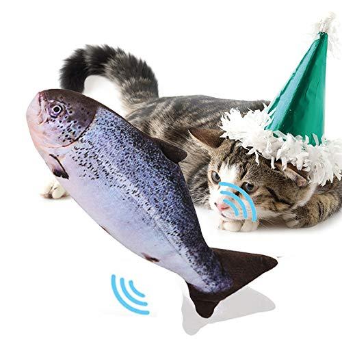 PECHTY Elektrisch Spielzeug Fisch,USB Katze Interaktive Spielzeug Simulation Plush Fisch,Elektrische Puppe Fisch Plüschtier für Katze zu Spielen, Beißen, Kauen und Treten (Grau)