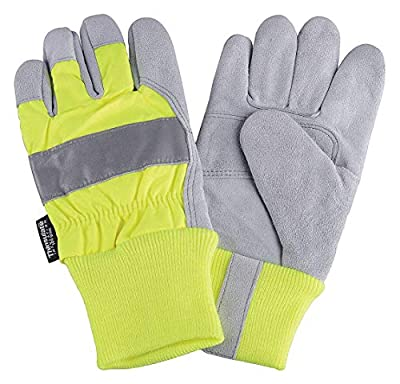 Cowhide Leather Work Gloves, Knit Wrist Cuff, Hi-Visibility Lime, Size: L, Left and Right Hand