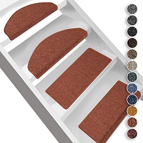 Floordirekt Stufenmatten London | Halbrund oder Eckig | Treppenmatten in 11 Farben | Strapazierfähig & pflegeleicht | Stufenteppich für Innen (Terra, Halbrund 23,5 x 65 cm)