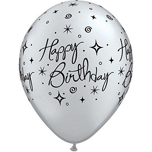 Creative Party - Palloncini per la festa di compleanno (Confezione da 25) (Taglia unica) (Argento perlato/Nero)