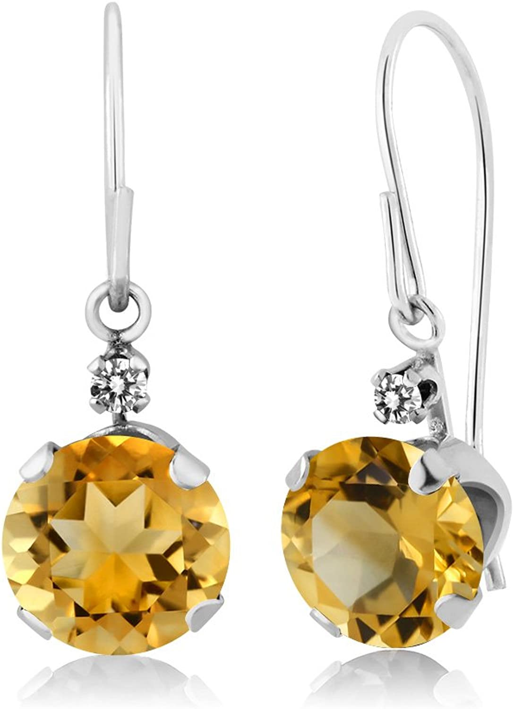 1.43 Ct Round Yellow Citrine White Diamond 14K White gold Earrings
