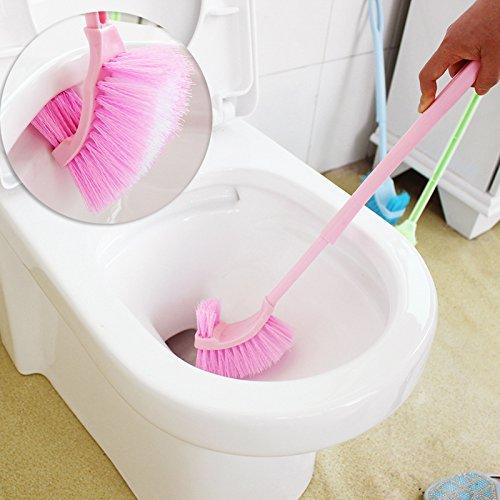 Pedgeo (TM) longue poignée de salle de bain Cuvette WC Scrub Plastique double face Brosse de nettoyage Accessoires de salle de bain B01