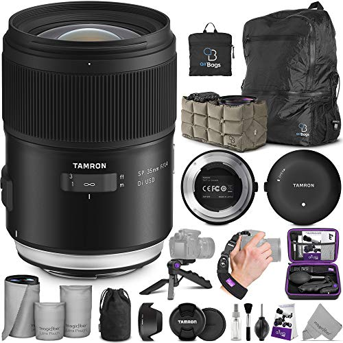 Tamron SP 35mm f/1.4 Di USD Lens for Nikon F + Tamron Tap-in Console with Altura Photo Essential Accessory and Travel Bundle
