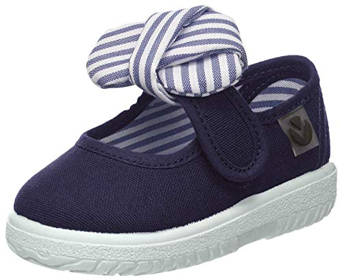 Victoria Mercedes Lona Pañuelo, Zapatos de primeros pasos para Bebé-Niñas, Azul (Marino), 20 EU