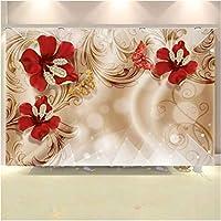 Iusasdz カスタム壁紙3D壁画ヨーロッパの宮殿スタイルゴールデンジュエリー花テレビ背景壁紙家の装飾3D3D壁紙400X280Cm