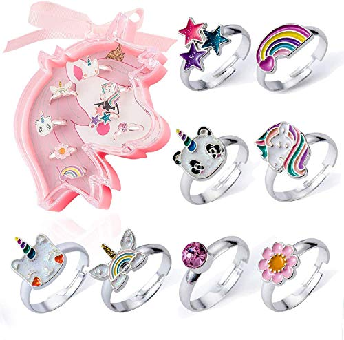 PinkSheep Unicorn Rings for Kids, Unicorn and Friends, 8PC, Unicorn Packaging, Unicorn Gift for Girls