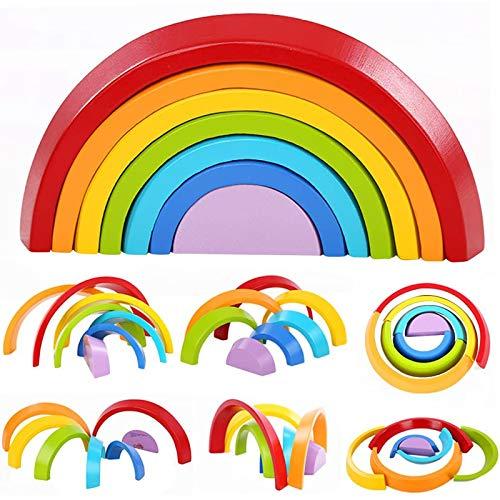 Lewo Holzbausteine Regenbogen Motorikspielzeug Steckspiel Geometrie Bausteine Pädagogisches Puzzle 7 Stücke für Kinder ab 3 Jahren