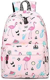 Women Bagpack Cute Pink Flamingo Animal Printing School Backpack for Teenage Girls Waterproof Knapsack Mochila for Girls All-match Canvas Travel Laptop Bags