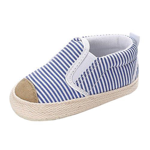 Topgrowth Sneaker Tela Scarpe Bambino Infanzia Strisce Pattini Primi Passi Tela Morbide Scarpine Neonato per 0-18 Mesi (1, Blu)