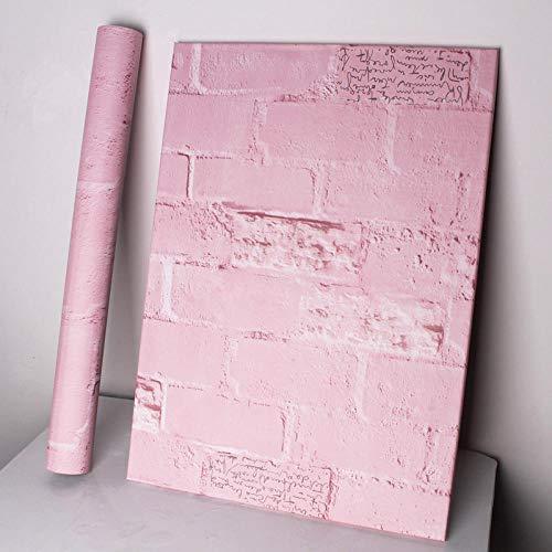Pegatinas decorativas papel pintado autoadhesivo,Papel pintado nostálgico, fondo de pantalla de fregado autoadhesivo-60 cm * 5m_Polvo - ladrillo inglés