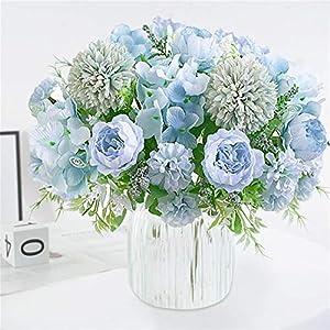 Homcomodar Ramos de flores artificiales, 2 paquetes de peonías falsas de seda de hortensias de plástico para arreglos de…