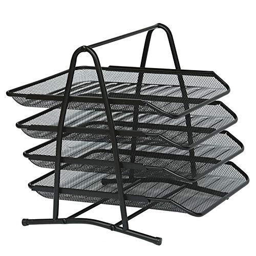 Fransande BooTe de almacenamiento de escritorio con 4 bandejas deslizantes, soporte de almacenamiento de archivos de escritorio de malla para guardar documentos, correo, papel y letras