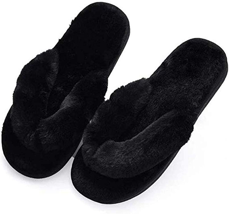 Humiwa Black Flip Flop Slippers Fuzzy Fluffy Faux Fur House SPA Cute Open Toe Slippers for Women Girl Women8-8.5 Men7-7.5