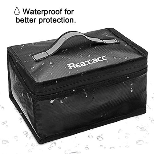 REALACC Upgraded Lipo Safe Bag Waterproof Fireproof Explosionproof for Lipo Battery Storage and Charging,Large Space Fire and Water Resistant for DJI Mavic 2 pro Spark Tello Phantom with Luminous Hand